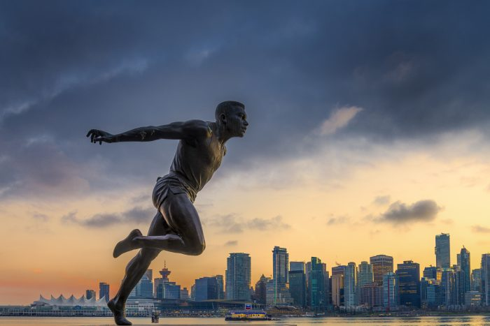 Harry Jerome statue and Coal Harbour from Stanley Park, Vancouver, British Columbia, Canada