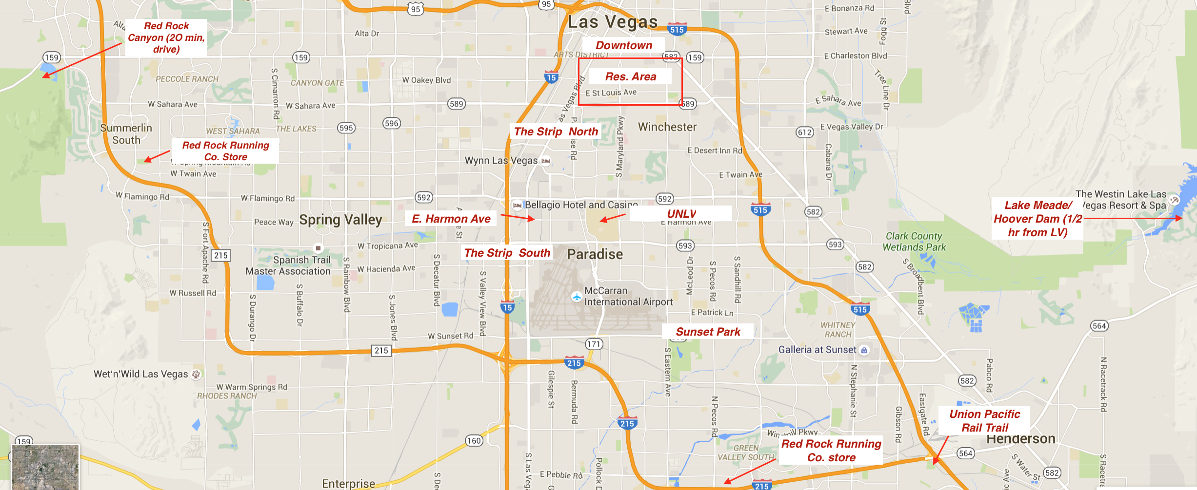 Running In Las Vegas Nevada Best Routes And Places To Run In Las - Las vegas grand canyon map