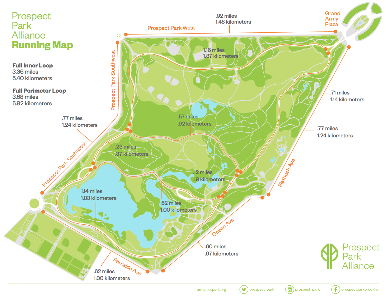 brooklyn – prospect park  great runs -  map paths within prospect park