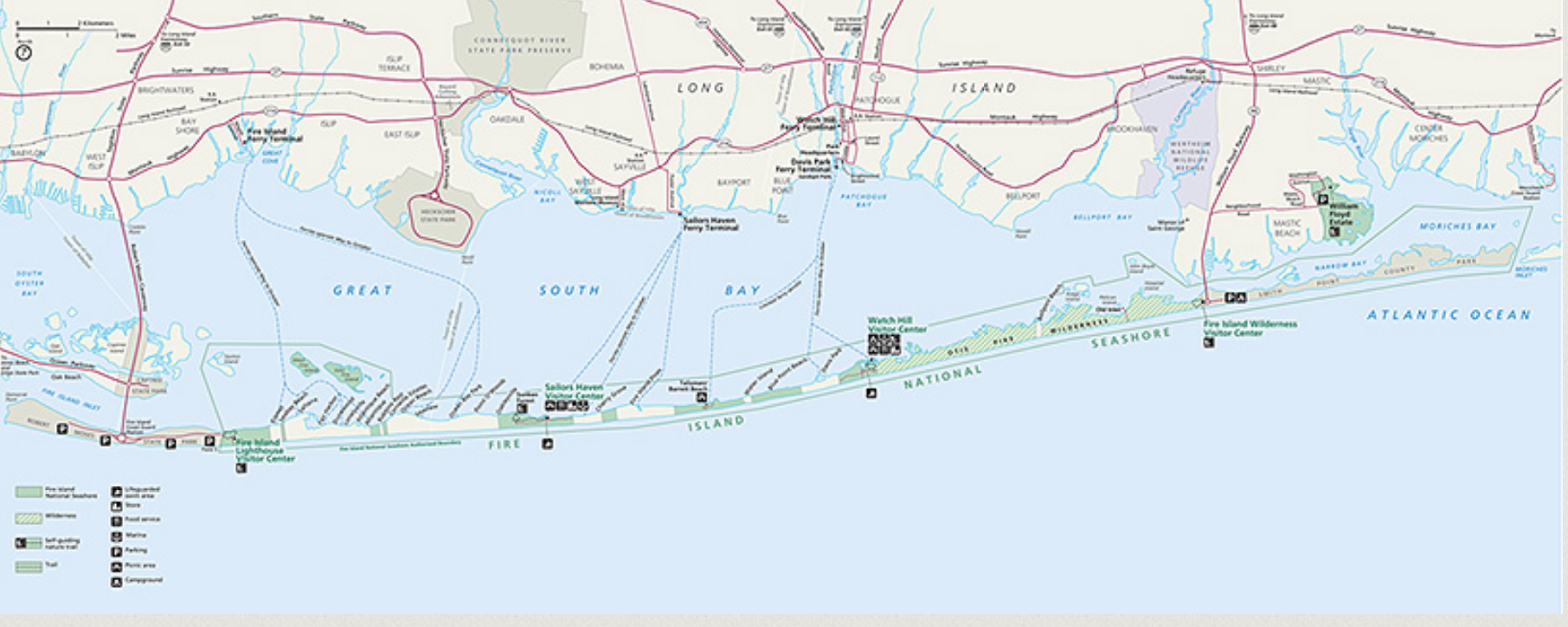 Fire Island National Seashore Map Robert Moses State Park