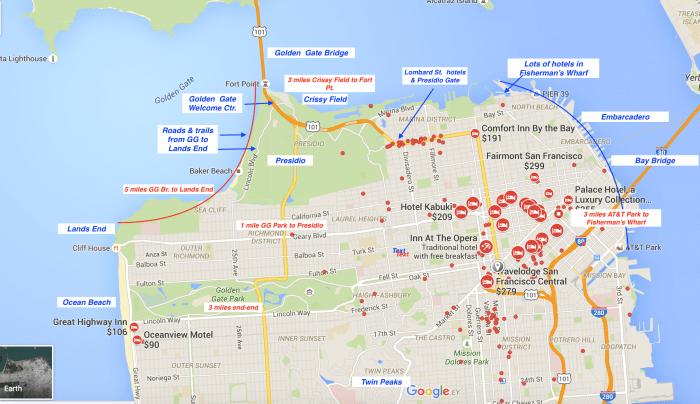 Worksheet. Map Of Golden Gate Bridge Area Hotels  The Best Bridge 2017